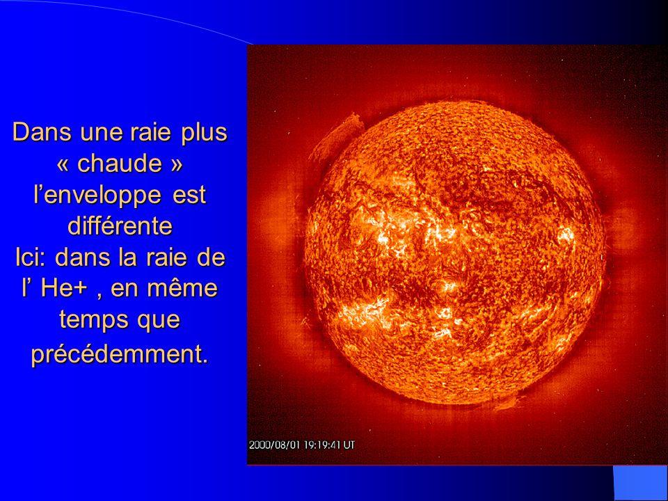 Dans une raie plus « chaude » lenveloppe est différente Ici: dans la raie de l He+, en même temps que précédemment.