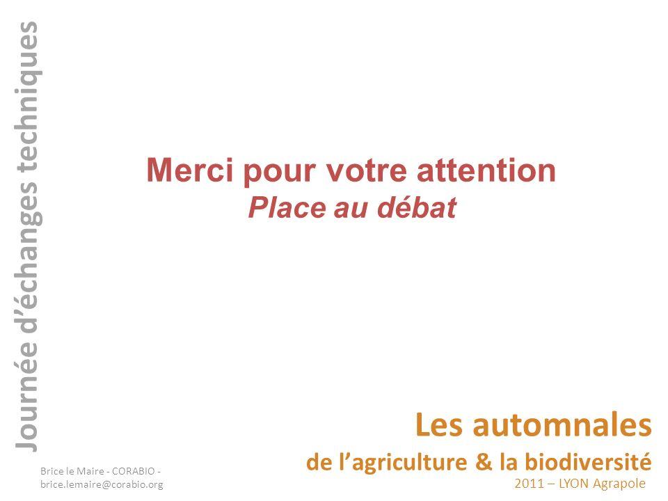 2011 – LYON Agrapole Les automnales de lagriculture & la biodiversité Journée déchanges techniques Merci pour votre attention Place au débat Brice le