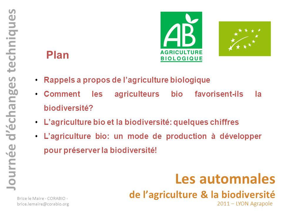 2011 – LYON Agrapole Les automnales de lagriculture & la biodiversité Journée déchanges techniques Lagriculture biologique est un mode de production agricole qui exclut l usage dengrais et de pesticides de synthèse ainsi que les organismes génétiquement modifiés (OGM).