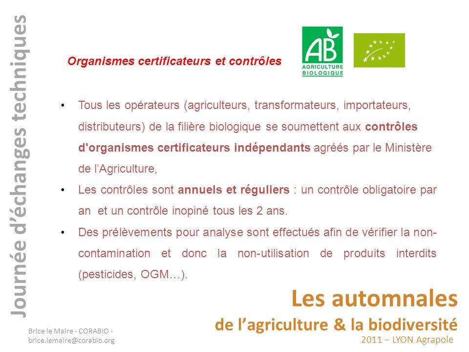 2011 – LYON Agrapole Les automnales de lagriculture & la biodiversité Journée déchanges techniques Tous les opérateurs (agriculteurs, transformateurs,