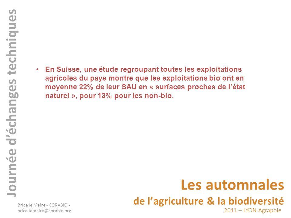 2011 – LYON Agrapole Les automnales de lagriculture & la biodiversité Journée déchanges techniques En Suisse, une étude regroupant toutes les exploita