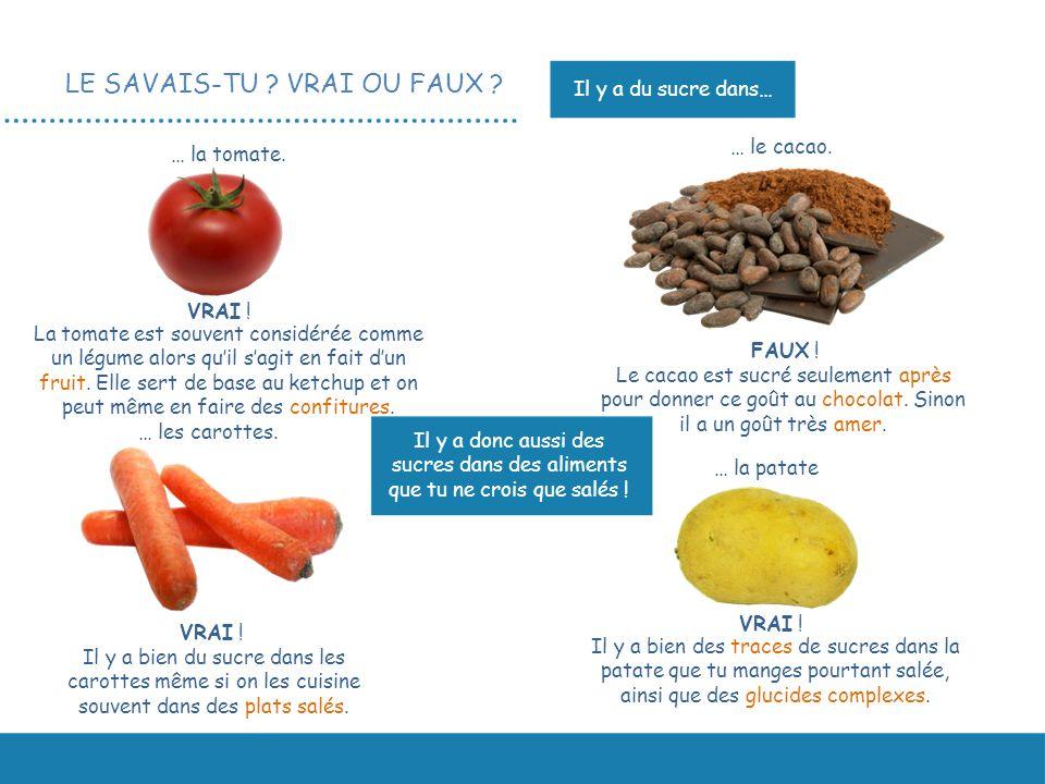 LE SAVAIS-TU ? VRAI OU FAUX ? Il y a bien du sucre dans les carottes même si on les cuisine souvent dans des plats salés. … la tomate. VRAI ! … les ca