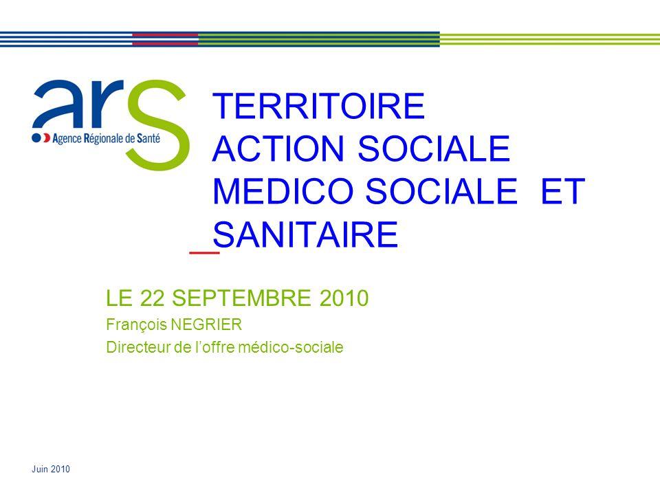 Juin 2010 TERRITOIRE ACTION SOCIALE MEDICO SOCIALE ET SANITAIRE LE 22 SEPTEMBRE 2010 François NEGRIER Directeur de loffre médico-sociale