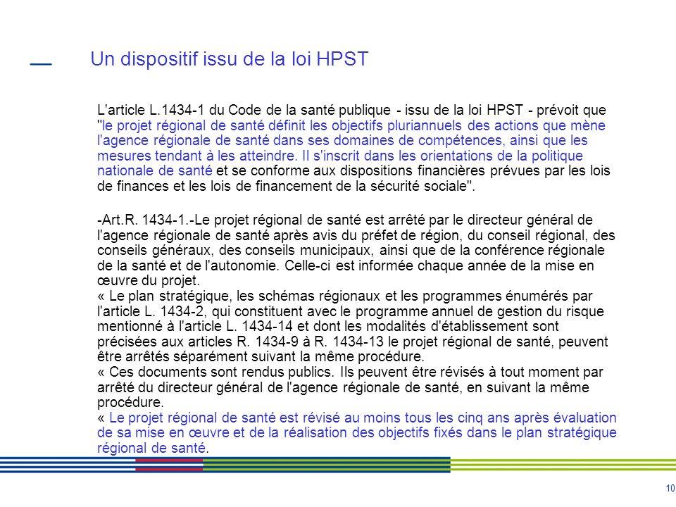 10 Un dispositif issu de la loi HPST L'article L.1434-1 du Code de la santé publique - issu de la loi HPST - prévoit que