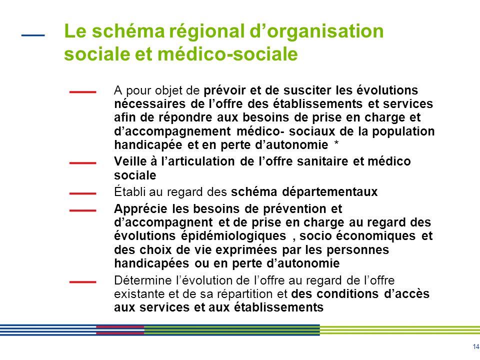 14 Le schéma régional dorganisation sociale et médico-sociale A pour objet de prévoir et de susciter les évolutions nécessaires de loffre des établiss