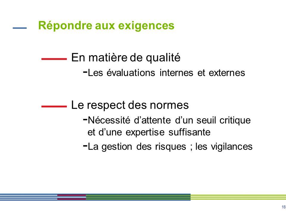 18 Répondre aux exigences En matière de qualité - Les évaluations internes et externes Le respect des normes - Nécessité dattente dun seuil critique e