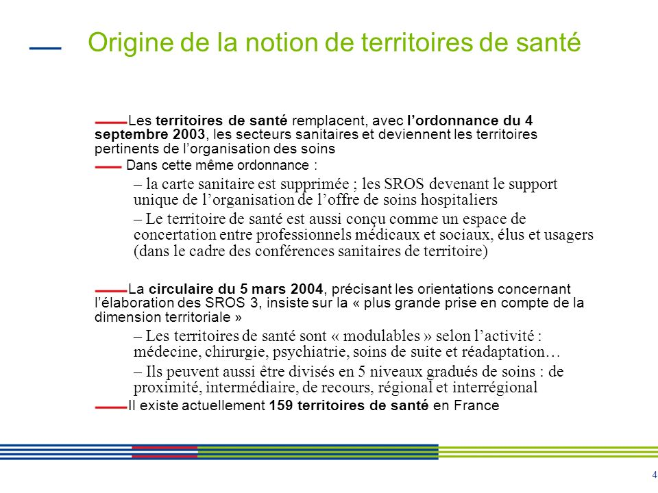 4 Origine de la notion de territoires de santé Les territoires de santé remplacent, avec lordonnance du 4 septembre 2003, les secteurs sanitaires et d