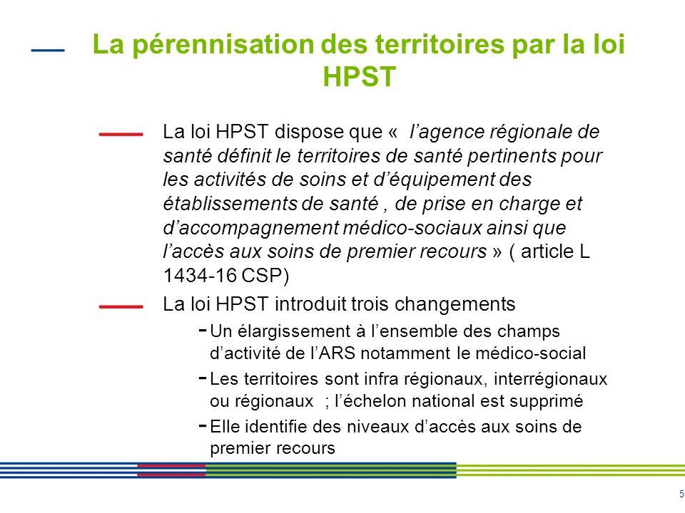 5 La pérennisation des territoires par la loi HPST La loi HPST dispose que « lagence régionale de santé définit le territoires de santé pertinents pou