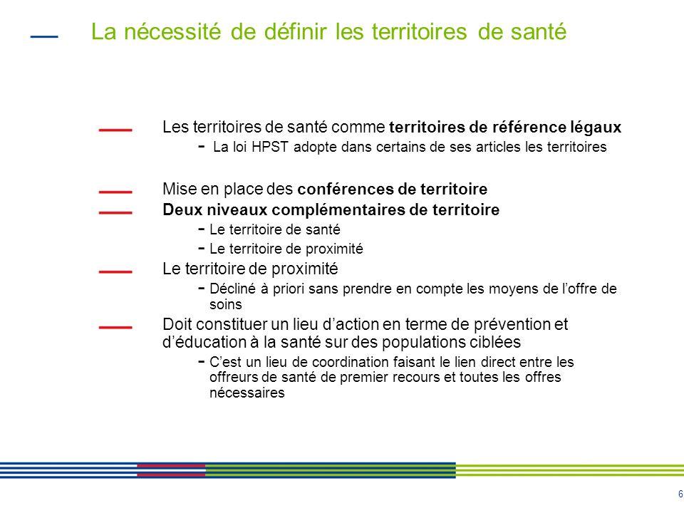 6 La nécessité de définir les territoires de santé Les territoires de santé comme territoires de référence légaux - La loi HPST adopte dans certains d