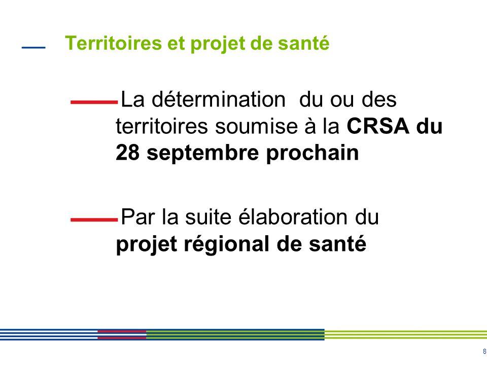 8 Territoires et projet de santé La détermination du ou des territoires soumise à la CRSA du 28 septembre prochain Par la suite élaboration du projet