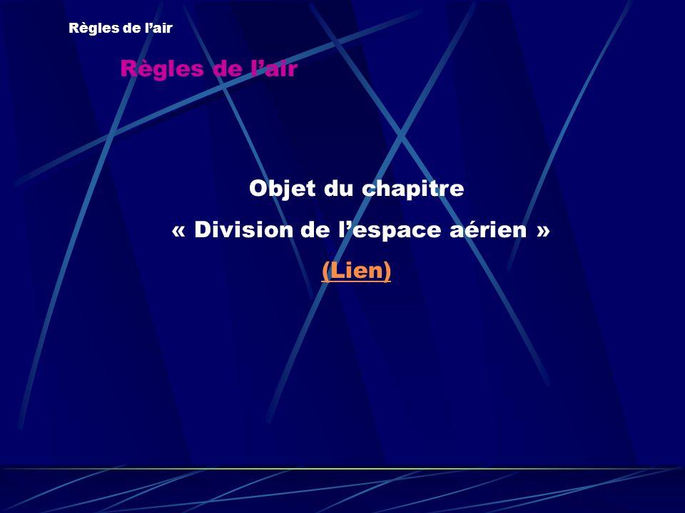 Règles de lair Objet du chapitre « Division de lespace aérien » (Lien)