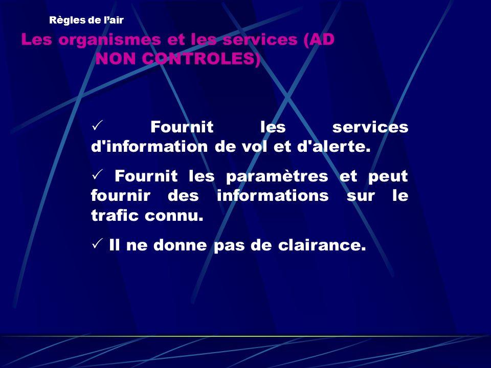 Les organismes et les services (AD NON CONTROLES) Règles de lair Fournit les services d'information de vol et d'alerte. Fournit les paramètres et peut