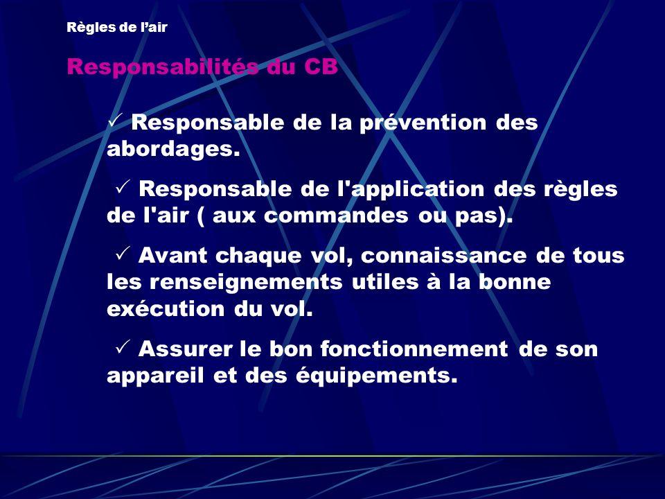Responsabilités du CB Règles de lair Responsable de la prévention des abordages. Responsable de l'application des règles de l'air ( aux commandes ou p