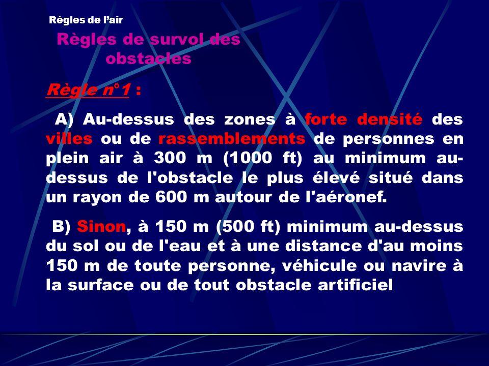 Règles de survol des obstacles Règles de lair Règle n°1 : A) Au-dessus des zones à forte densité des villes ou de rassemblements de personnes en plein