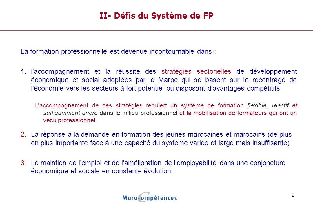 2 II- Défis du Système de FP La formation professionnelle est devenue incontournable dans : 1.laccompagnement et la réussite des stratégies sectorielles de développement économique et social adoptées par le Maroc qui se basent sur le recentrage de léconomie vers les secteurs à fort potentiel ou disposant davantages compétitifs Laccompagnement de ces stratégies requiert un système de formation flexible, réactif et suffisamment ancré dans le milieu professionnel et la mobilisation de formateurs qui ont un vécu professionnel.