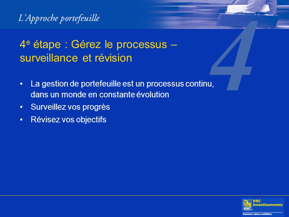 4 4 e étape : Gérez le processus – surveillance et révision La gestion de portefeuille est un processus continu, dans un monde en constante évolution Surveillez vos progrès Révisez vos objectifs