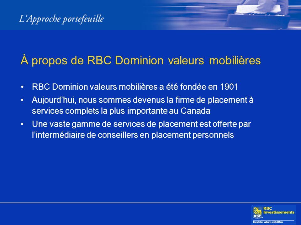 À propos de RBC Dominion valeurs mobilières RBC Dominion valeurs mobilières a été fondée en 1901 Aujourdhui, nous sommes devenus la firme de placement à services complets la plus importante au Canada Une vaste gamme de services de placement est offerte par lintermédiaire de conseillers en placement personnels