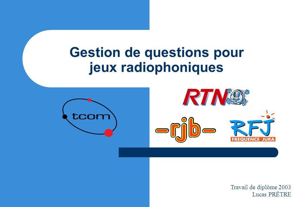 Gestion de questions pour jeux radiophoniques Travail de diplôme 2003 Lucas PRÊTRE