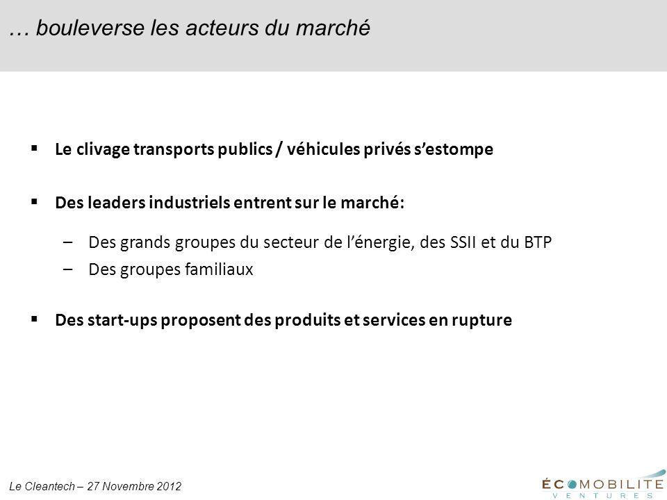 Le Cleantech – 27 Novembre 2012 … bouleverse les acteurs du marché Le clivage transports publics / véhicules privés sestompe Des leaders industriels e