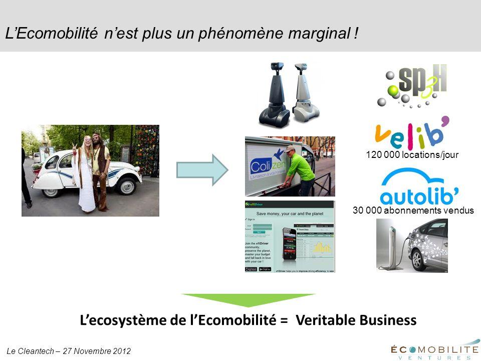 Le Cleantech – 27 Novembre 2012 LEcomobilité nest plus un phénomène marginal ! 120 000 locations/jour 30 000 abonnements vendus Lecosystème de lEcomob