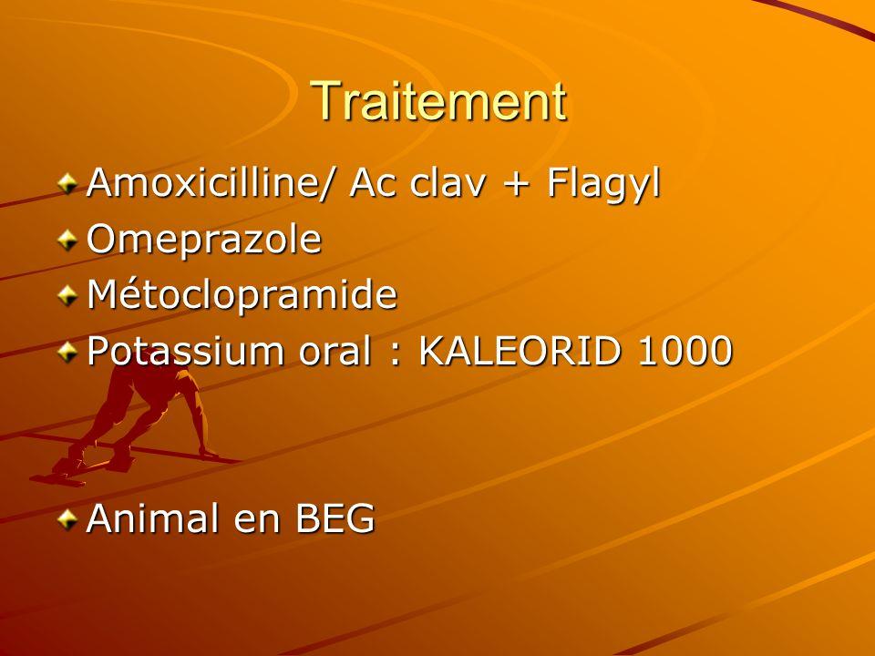 Traitement Amoxicilline/ Ac clav + Flagyl OmeprazoleMétoclopramide Potassium oral : KALEORID 1000 Animal en BEG