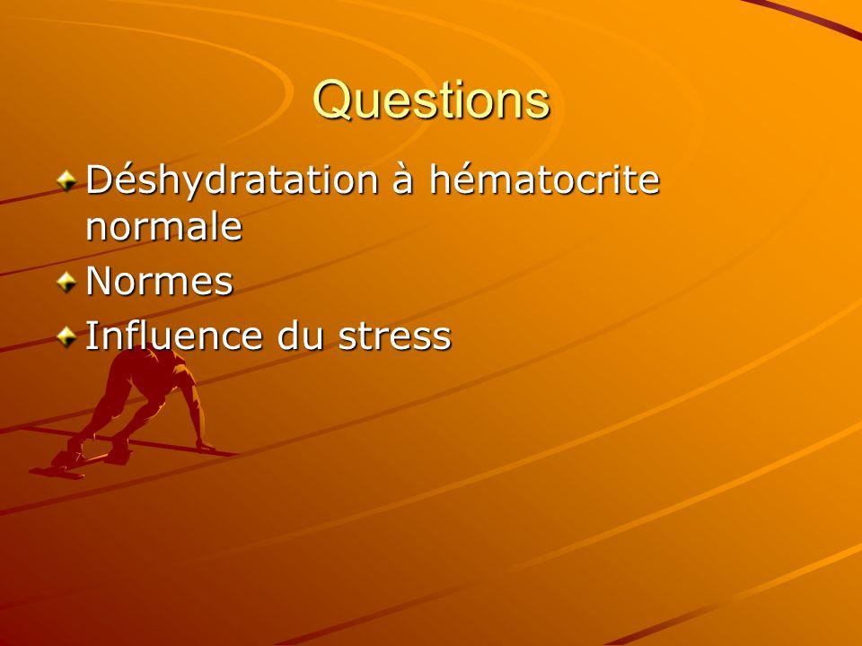 Questions Déshydratation à hématocrite normale Normes Influence du stress
