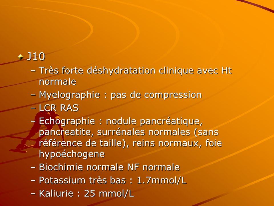 J10 –Très forte déshydratation clinique avec Ht normale –Myelographie : pas de compression –LCR RAS –Echographie : nodule pancréatique, pancreatite, s