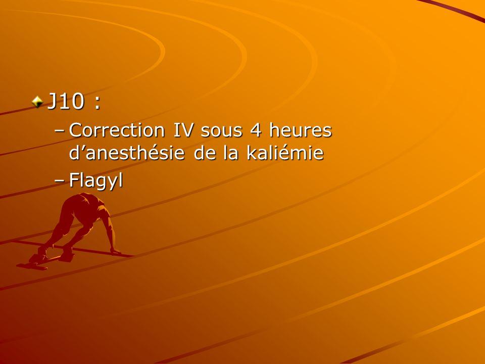 J10 : –Correction IV sous 4 heures danesthésie de la kaliémie –Flagyl