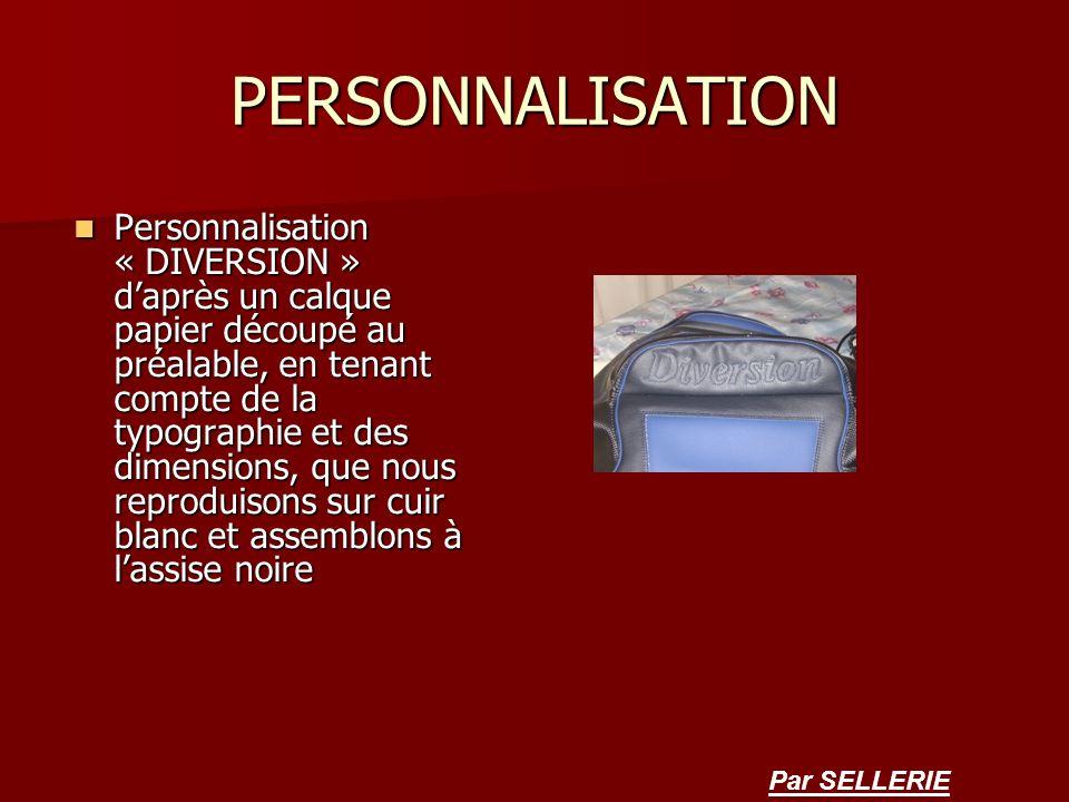 PERSONNALISATION Personnalisation « DIVERSION » daprès un calque papier découpé au préalable, en tenant compte de la typographie et des dimensions, qu