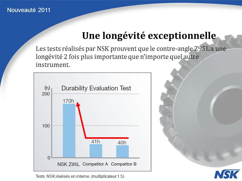 Une longévité exceptionnelle Nouveauté 2011 Tests NSK réalisés en interne. (multiplicateur 1:5) Les tests réalisés par NSK prouvent que le contre-angl