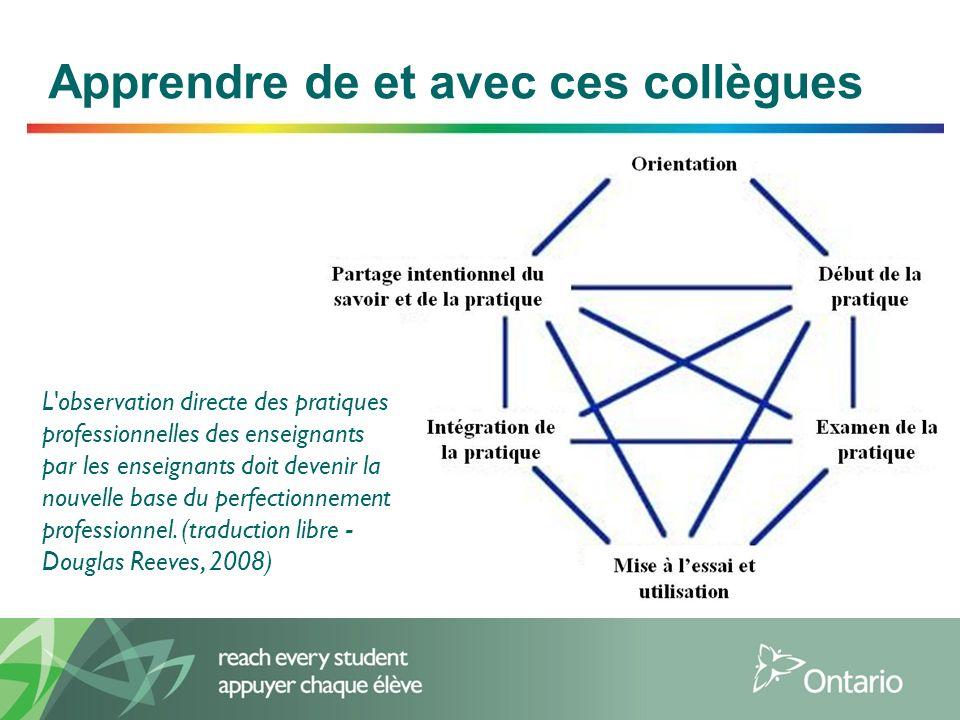 2 Apprendre de et avec ces collègues L'observation directe des pratiques professionnelles des enseignants par les enseignants doit devenir la nouvelle