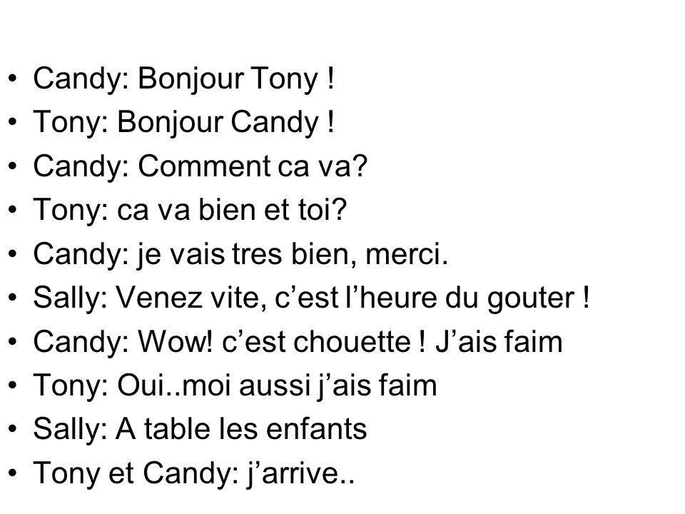 Candy: Bonjour Tony ! Tony: Bonjour Candy ! Candy: Comment ca va? Tony: ca va bien et toi? Candy: je vais tres bien, merci. Sally: Venez vite, cest lh