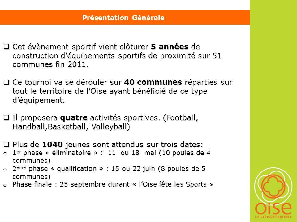 Présentation Générale Cet évènement sportif vient clôturer 5 années de construction déquipements sportifs de proximité sur 51 communes fin 2011.