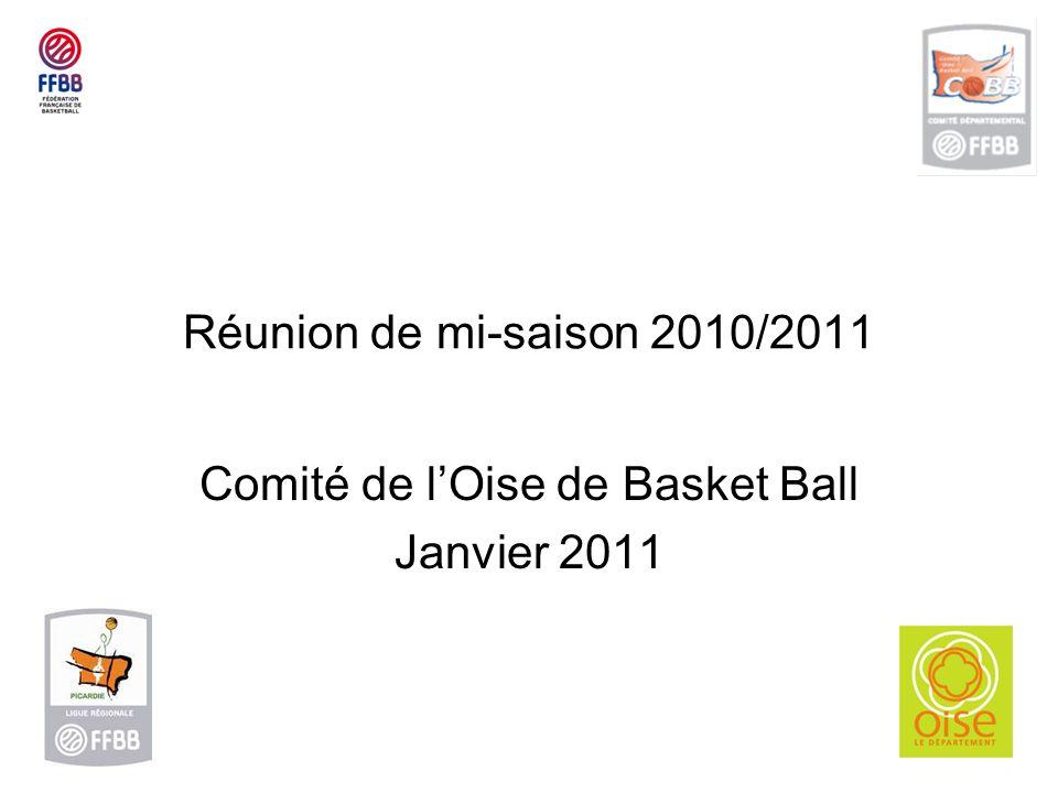 Réunion de mi-saison 2010/2011 Comité de lOise de Basket Ball Janvier 2011