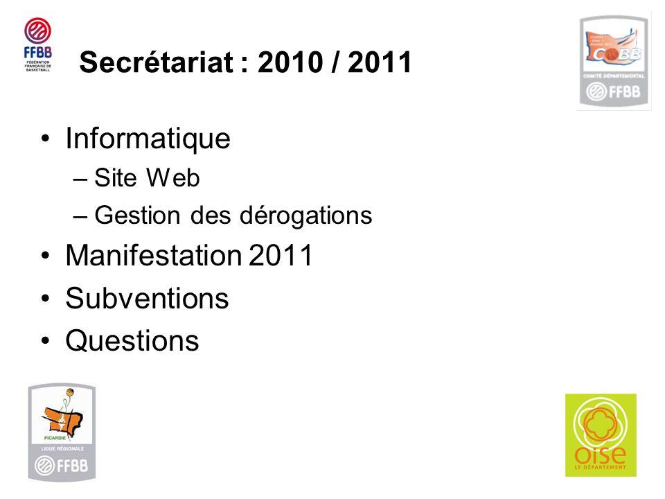 Secrétariat : 2010 / 2011 Informatique –Site Web –Gestion des dérogations Manifestation 2011 Subventions Questions