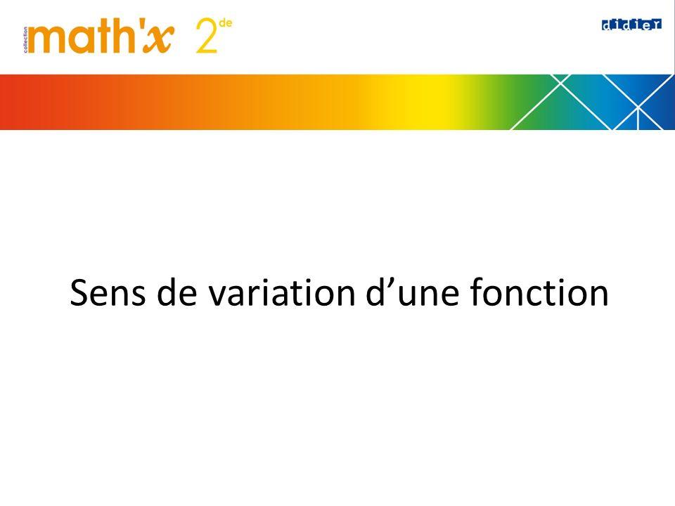 Sens de variation dune fonction