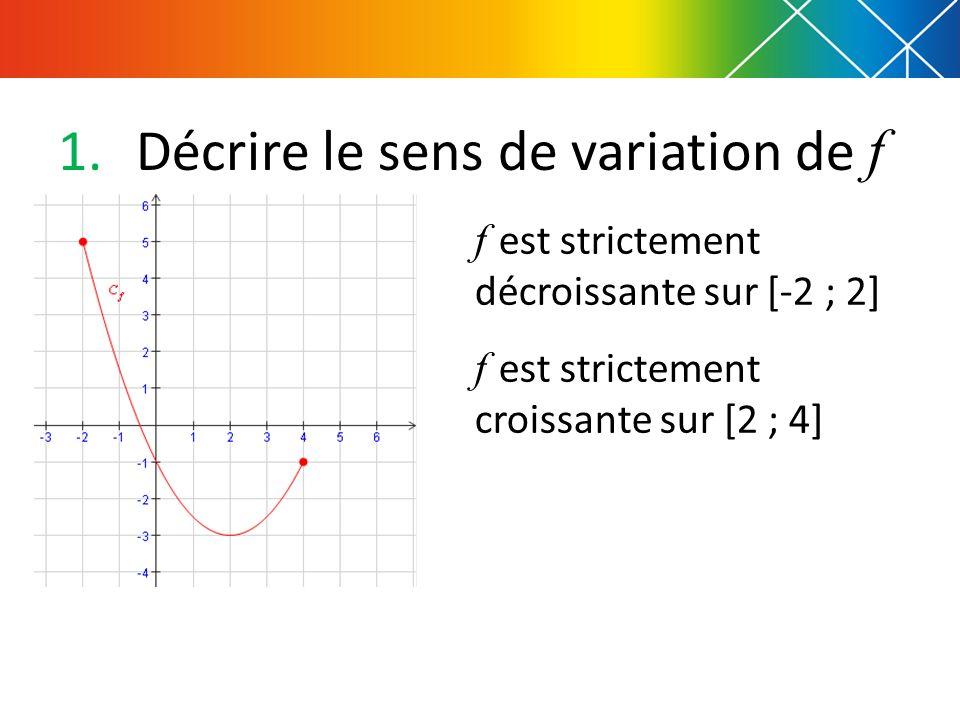 1.Décrire le sens de variation de f f est strictement décroissante sur [-2 ; 2] f est strictement croissante sur [2 ; 4]