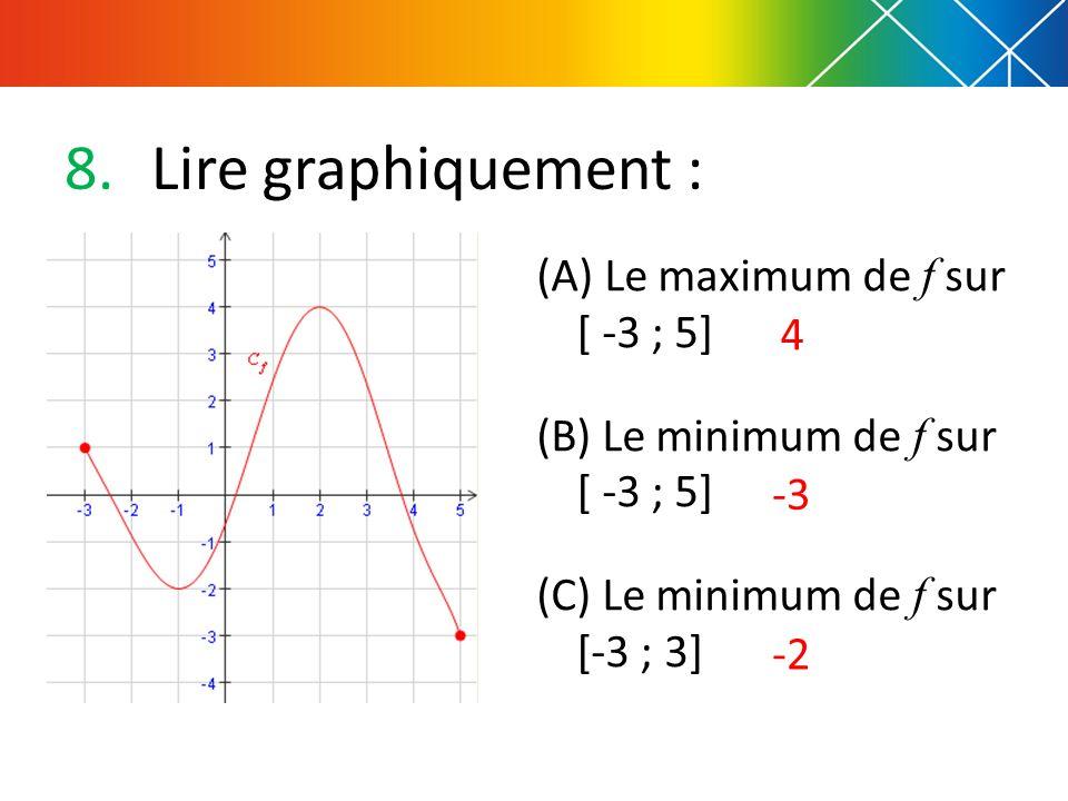 8.Lire graphiquement : (A) Le maximum de f sur [ -3 ; 5] (B) Le minimum de f sur [ -3 ; 5] (C) Le minimum de f sur [-3 ; 3] 4 -3 -2
