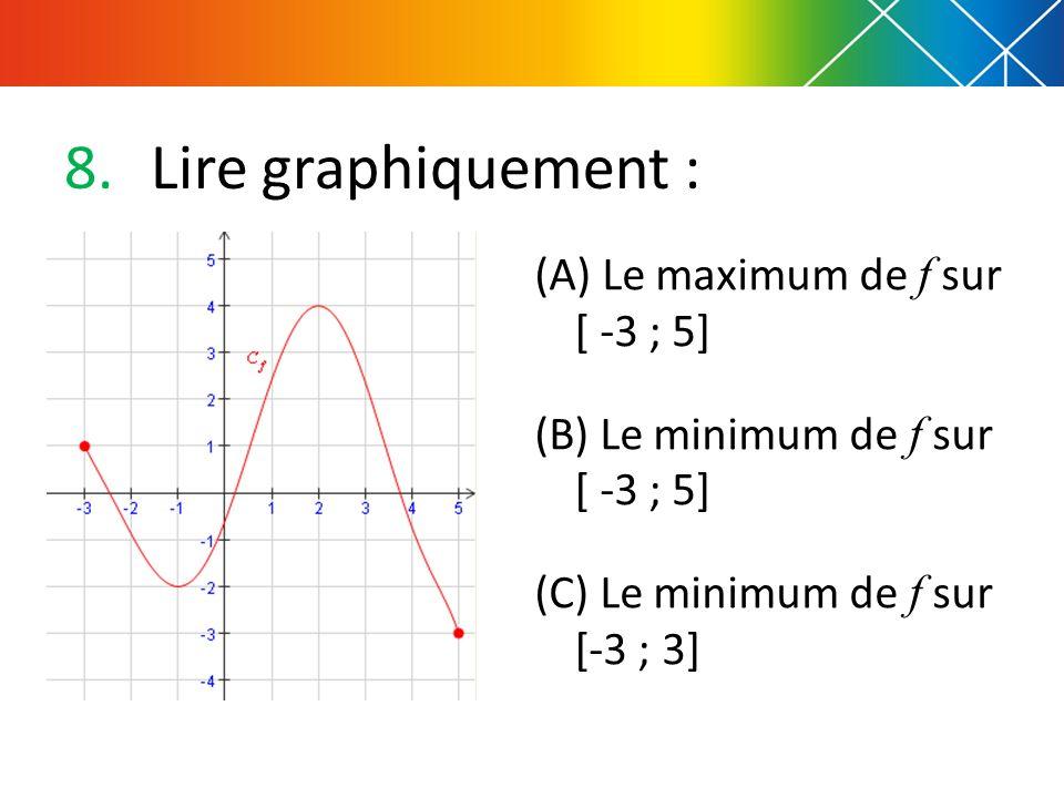 8.Lire graphiquement : (A) Le maximum de f sur [ -3 ; 5] (B) Le minimum de f sur [ -3 ; 5] (C) Le minimum de f sur [-3 ; 3]