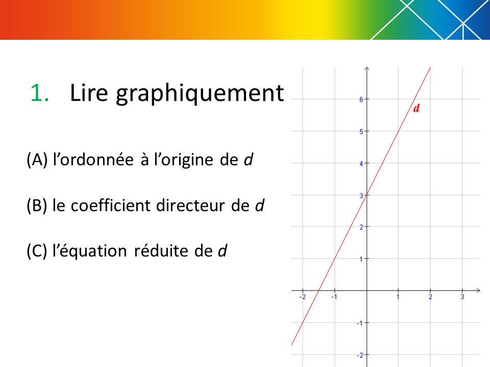 (A) lordonnée à lorigine de d (B) le coefficient directeur de d (C) léquation réduite de d 1.Lire graphiquement