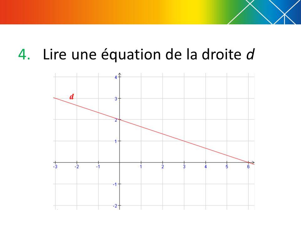 4.Lire une équation de la droite d