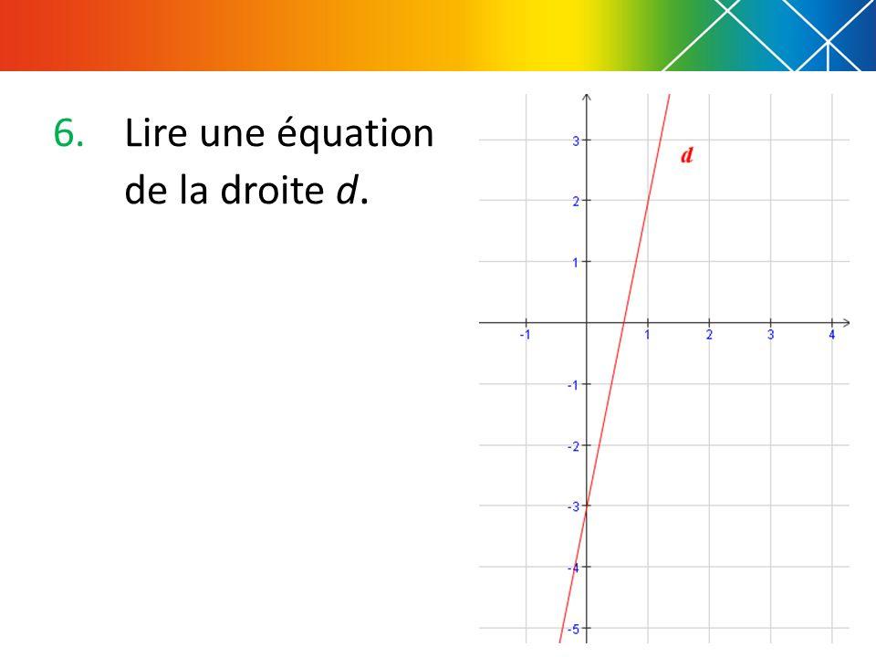 6.Lire une équation de la droite d.