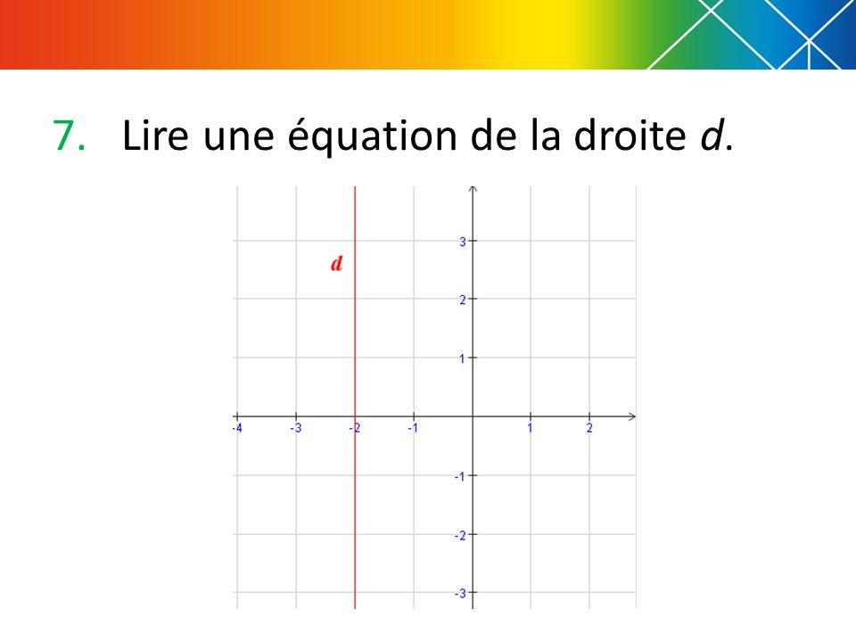 8.Lire une équation de la droite d.
