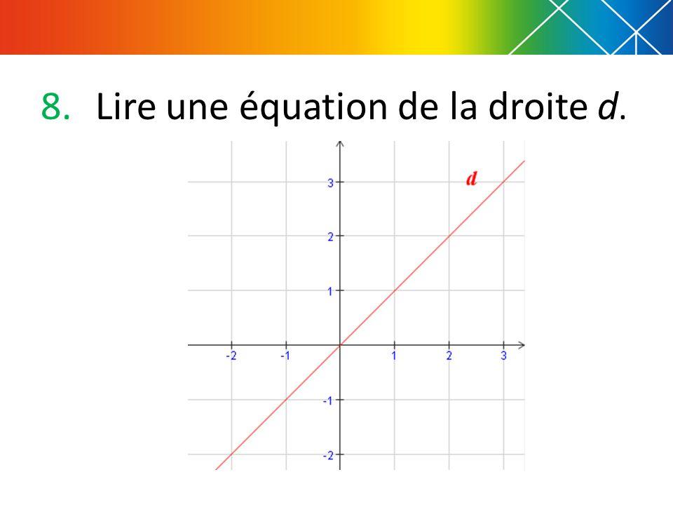 9.De quelle couleur est tracée la droite : (A) déquation y = - x +1 (B) déquation y = 3 x