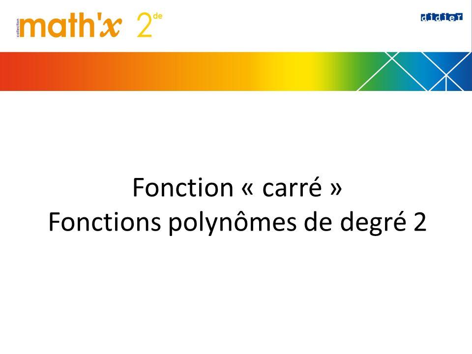 Fonction « carré » Fonctions polynômes de degré 2