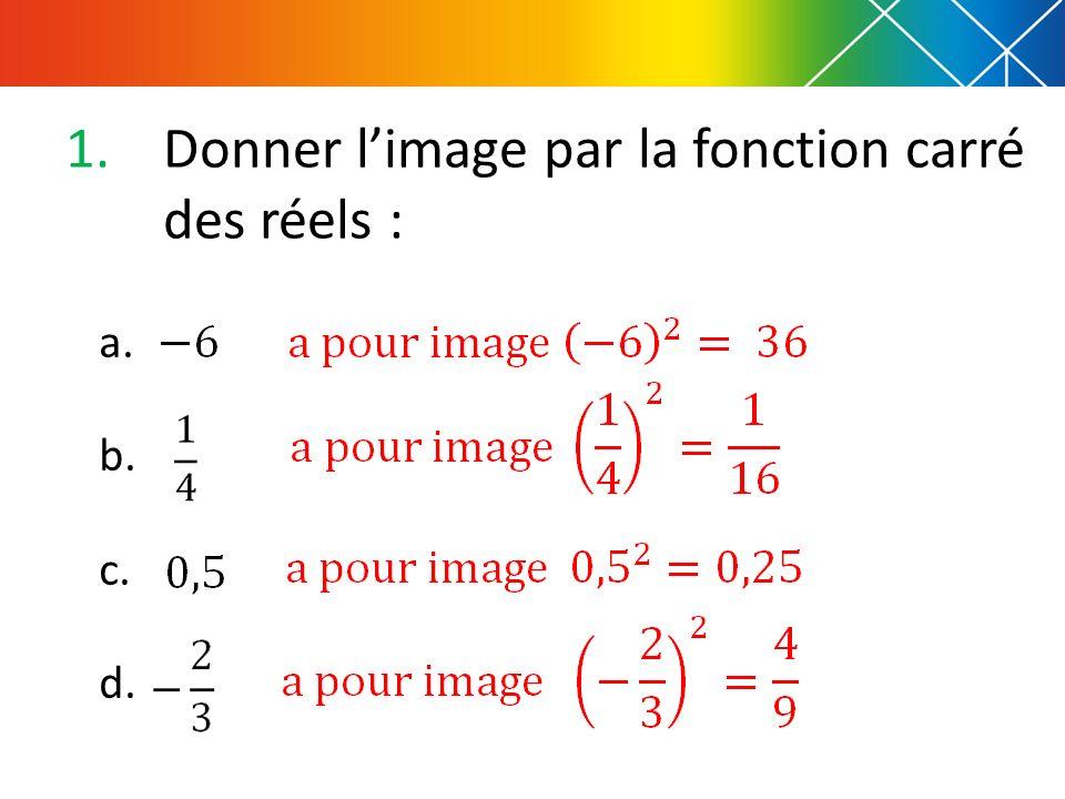 1.Donner limage par la fonction carré des réels : a. b. c. d.
