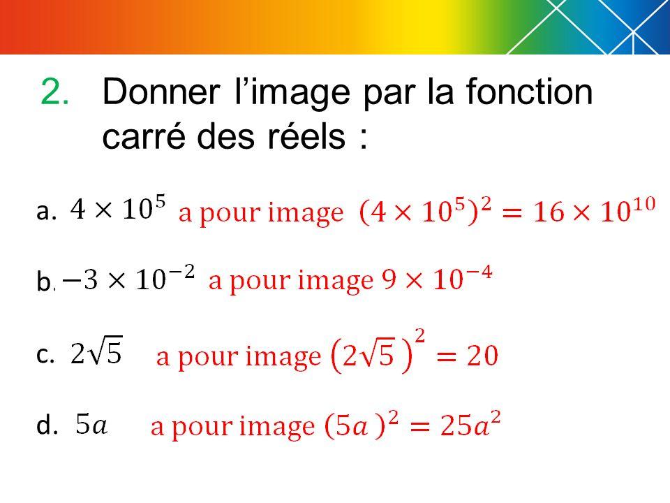 a. b. c. d. 2.Donner limage par la fonction carré des réels :