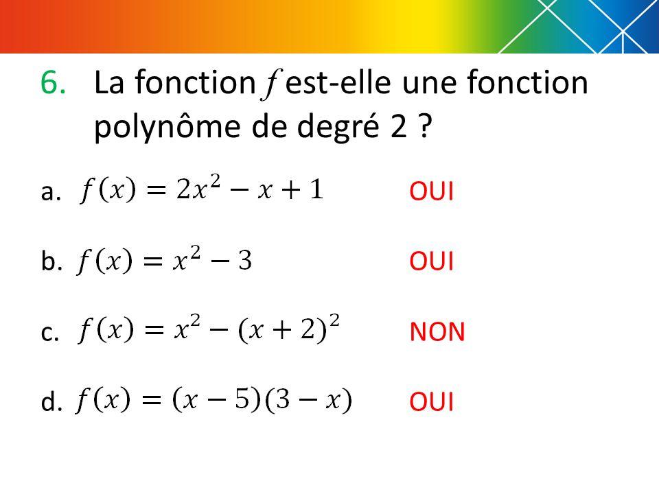 6.La fonction f est-elle une fonction polynôme de degré 2 ? a. b. c. d. OUI NON OUI