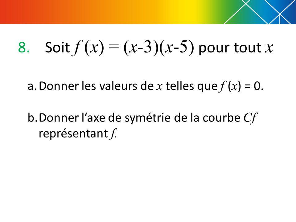 8.Soit f (x) = (x-3)(x-5) pour tout x a.Donner les valeurs de x telles que f ( x ) = 0. b.Donner laxe de symétrie de la courbe Cf représentant f.