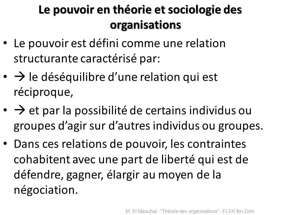 Le pouvoir en théorie et sociologie des organisations Le pouvoir est défini comme une relation structurante caractérisé par: le déséquilibre dune rela